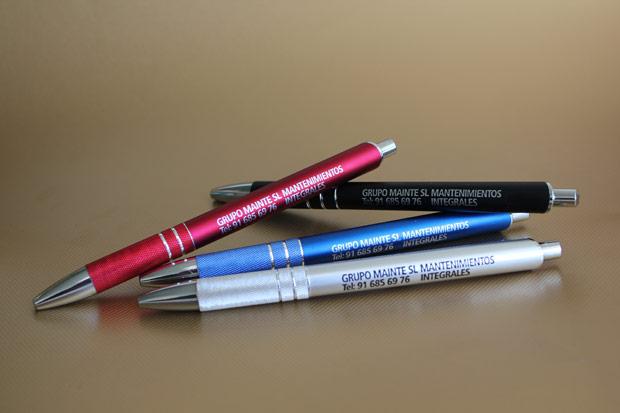Bolígrafos de empresa Lane personalizados en tinta plata y tinta negra