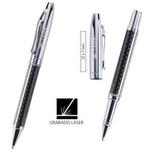 Bolígrafo y Roller Fiber de metal cromado e imitación a fibra de carbono