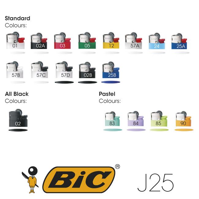 Colores mecheros BIC J25 impresión digital fotográfica