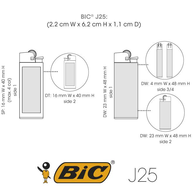 Medidas mecheros BIC J25 impresión digital fotográfica