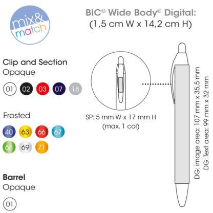 Colores y medidas bolígrafos Bic Wide Body Digital