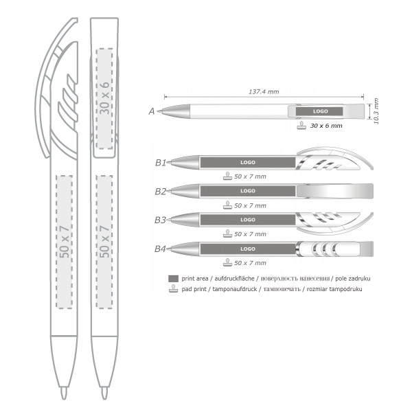 Áreas de impresión bolígrafos publicitarios Starco blanco