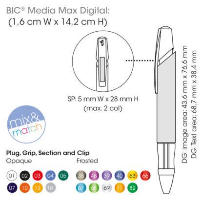 Medidas y colores bolígrafos BIC Media Max Digital
