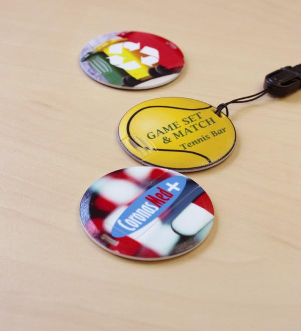 Memorias USB redondas coin card personalizadas