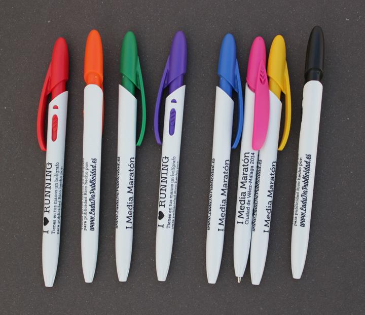 Bolígrafos para publicidad Rico White con serigrafía circular a 1 tinta