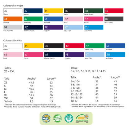 colores y tallas camiseta valueweight mujer Fruit of The Loom