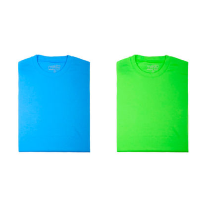 Camiseta tecni plus mujer azul claro y verde claro