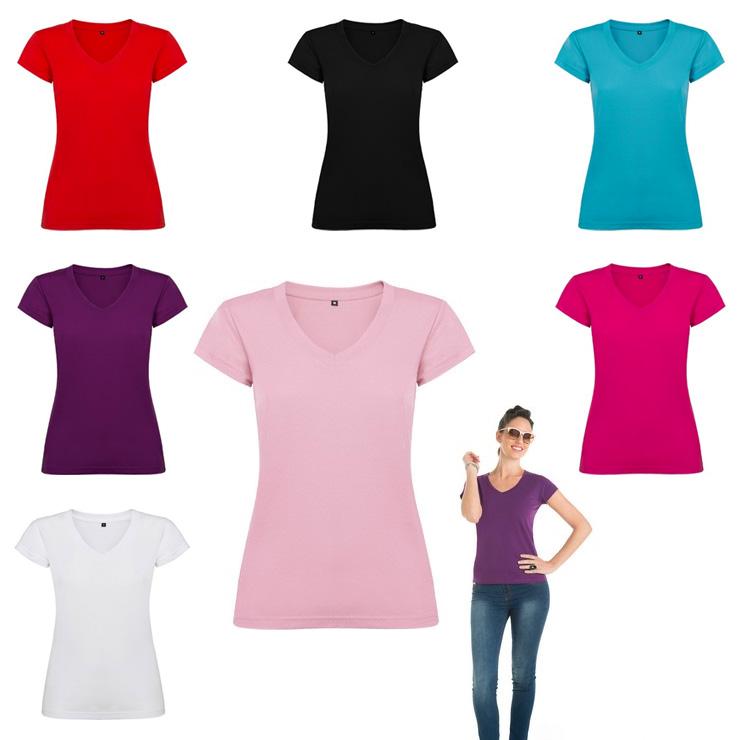 11c26766ca5a8 Camiseta de mujer con cuello de pico Victoria