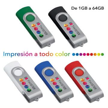 Memorias USB personalizadas Twister con impresión a todo color