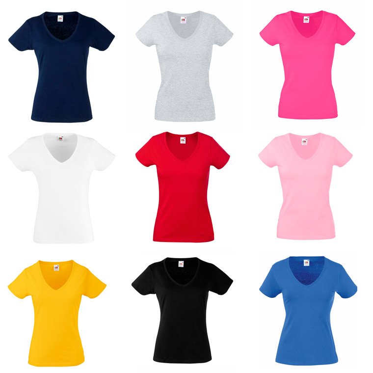 Colores camiseta valueweight de mujer cuello pico