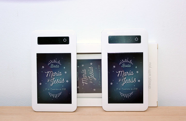 Batería externa móvil personalizada para boda Osnel