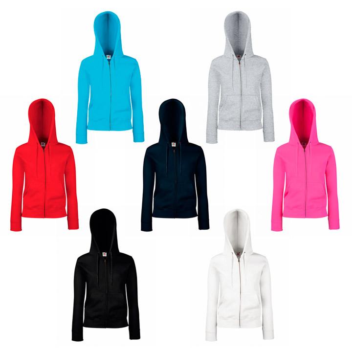Colores chaqueta entallada capucha y cremallera premium Fruit of the Loom