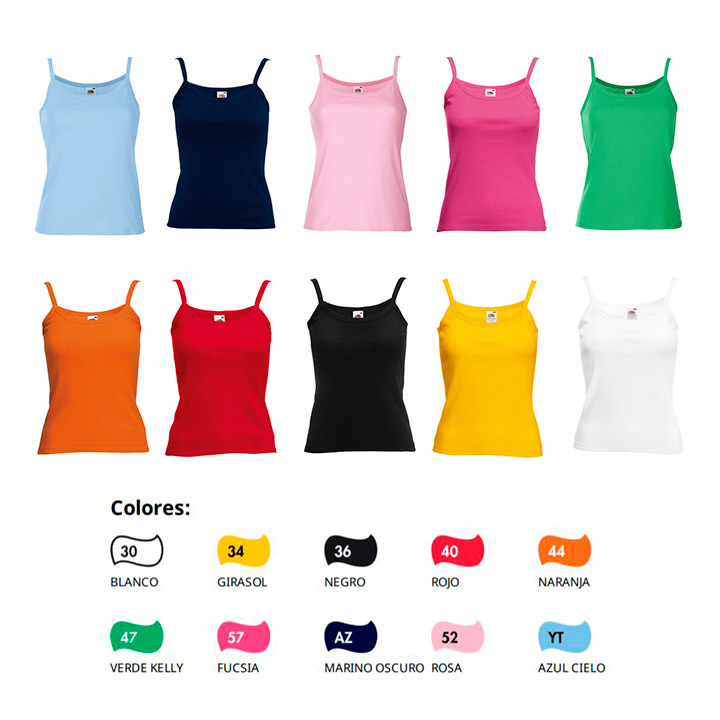 58c0b65e35186 Camiseta de tirantes mujer Fruit of The Loom Strap T Lady Fit algodón