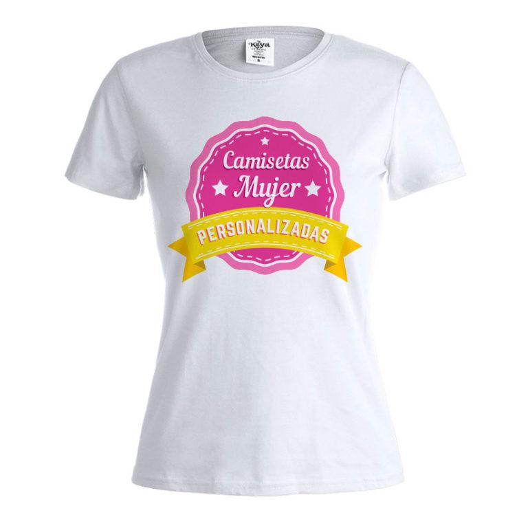 Camiseta blanca mujer personalizada Keya WCS150 con tu propio diseño 74929a38674f8