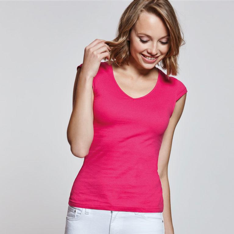 0895de0b3af51 Camiseta promocional mujer Martinica 100% algodón y escote en V