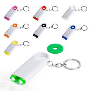 Llaveros personalizados con linterna y moneda carro Kipor