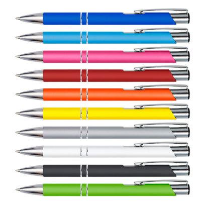Bolígrafos metálicos soft touch grabados